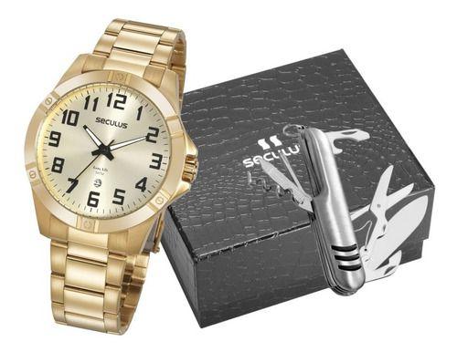 Relógios Seculus  Masculino Redondo Champagne 20959gpsvda2k1
