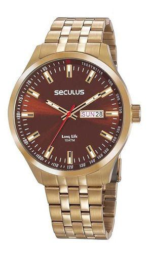 Relógios Seculus  Masculino Redondo Marrom 20798gpsvda3