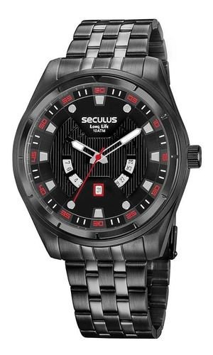 Relógios Seculus  Masculino Redondo Preto 20799gpsvpa2