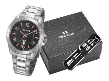 Relógios Seculus  Masculino Redondo Preto 77032g0svna1k2