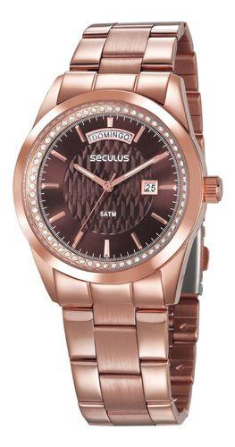 Relógios Seculus Feminino Redondo 35002lpsvrs1