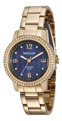 Relógios Seculus Feminino Redondo Azul 28844lpsvda1
