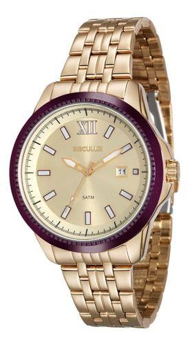Relógios Seculus Feminino Redondo Champagne 20477lpsvds2