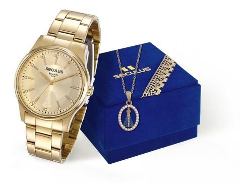 Relógios Seculus Feminino Redondo Champagne 28654lpsvda1k1