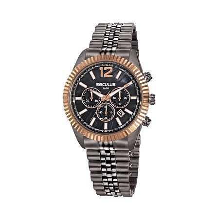 Relógios Seculus Feminino Redondo Cinza Escuro 20778LPSVSS3