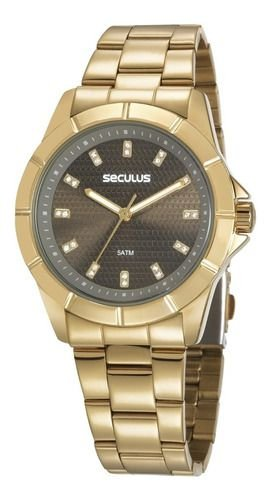 Relógios Seculus Feminino Redondo Dourado 20615lpsvds1