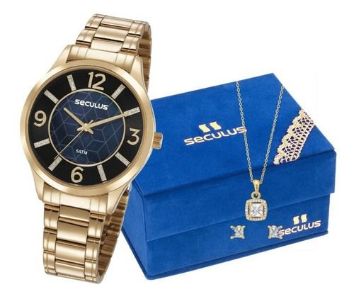 Relógios Seculus Feminino Redondo Dourado 23621lpsvds1k