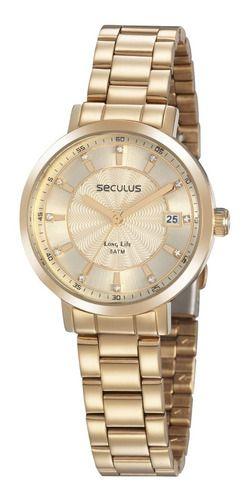 Relógios Seculus Feminino Redondo Dourado 35018lpsvda2