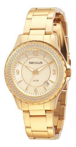 Relógios Seculus Feminino Redondo Madreperola 24773lpsfds2