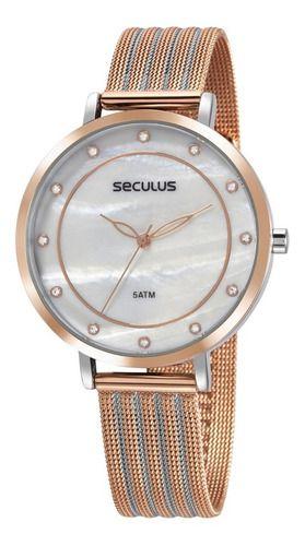 Relógios Seculus Feminino Redondo Madreperola 77041lpsvgs2