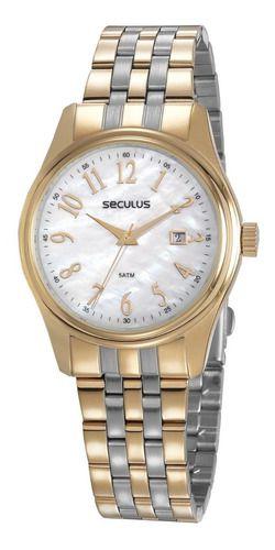 Relógios Seculus Feminino Redondo Madreperola 77049lpsvbs3