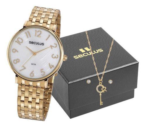 Relógios Seculus Feminino Redondo Madreperola 77050lpsvds1k2