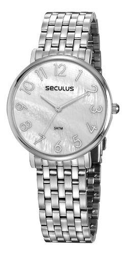 Relógios Seculus Feminino Redondo Prata 77050l0svns4