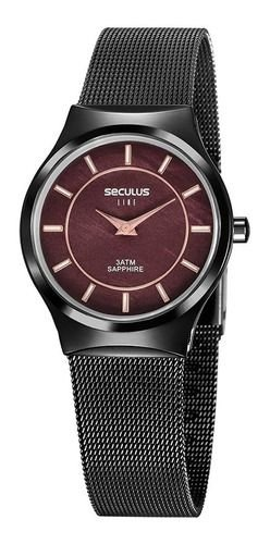 Relógios Seculus Feminino Redondo Preto 20772lpsvps1