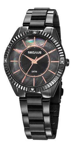 Relógios Seculus Feminino Redondo Preto 77028lpsvsf3