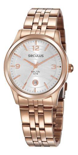Relógios Seculus Feminino Redondo Rose 35017lpsvra1