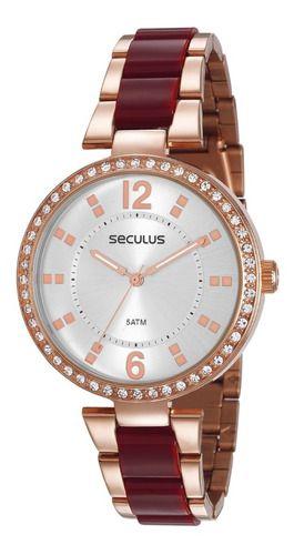Relógios Seculus Feminino Redondo Rose Gold77016lpsvrs2