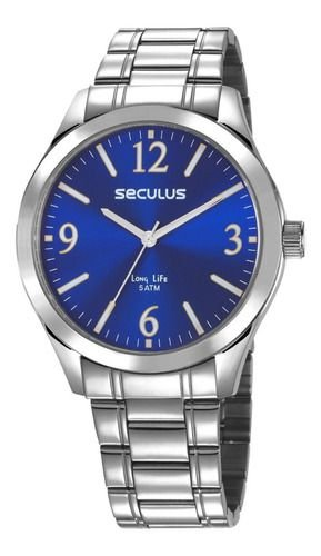 Relógios Seculus Masculino Redondo Azul 23656g0svna1