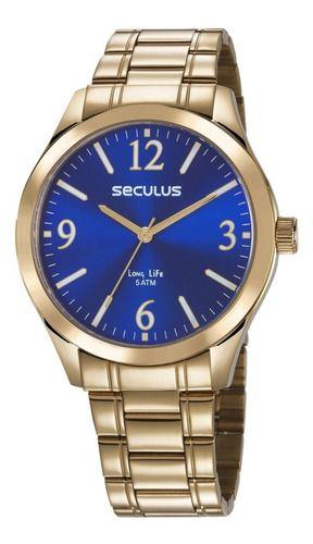 Relógios Seculus Masculino Redondo Azul 23656gpsvda2