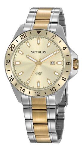 Relógios Seculus Masculino Redondo Champagne 20801gpsvba1
