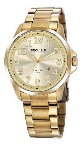 Relógios Seculus Masculino Redondo Champagne 20856gpsvda1