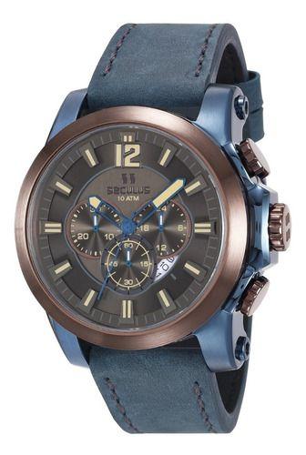 Relógios Seculus Masculino Redondo Cinza 13025gpsvec2