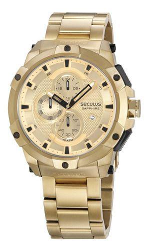 Relógios Seculus Masculino Redondo Dourado 13026gpsvda8