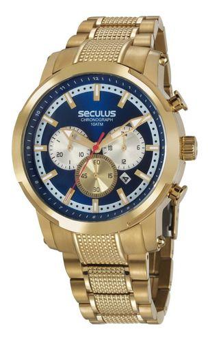 Relógios Seculus Masculino Redondo Dourado 20744gpsvda1