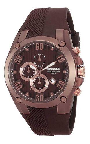Relógios Seculus Masculino Redondo Marrom 28207gpsgmu1