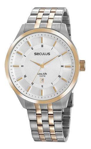 Relógios Seculus Masculino Redondo Prata 20797gpsvba2