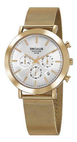 Relógios Seculus Masculino Redondo Prata 23660gpsvda2