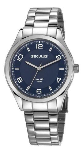 Relógios Seculus Masculino Redondo Prata 28975g0svna2