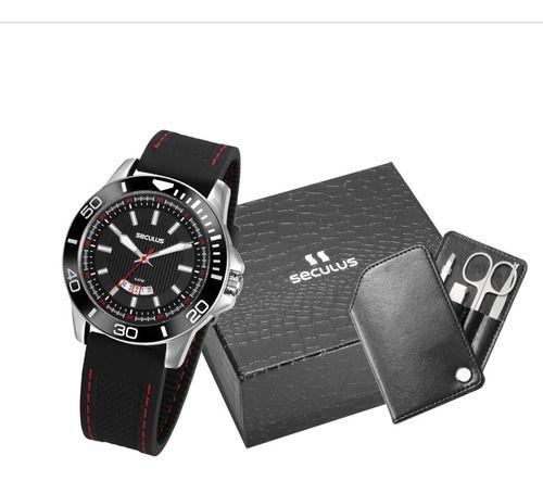 Relógio Seculus Masculino Redondo Preto 20791g0svnu1k