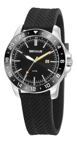 Relógios Seculus Masculino Redondo Preto 20813g0svnu2