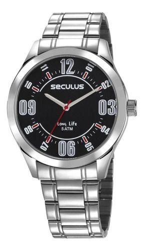 Relógios Seculus Masculino Redondo Preto 23657g0svna1k