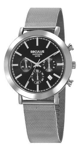 Relógios Seculus Masculino Redondo Preto 23660g0svna1