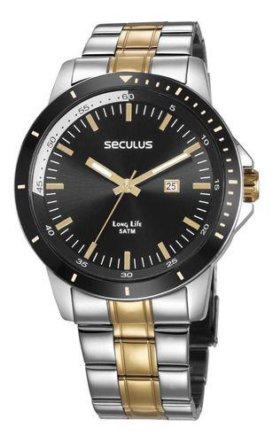 Relógios Seculus Masculino Redondo Preto 28964gpsvba1