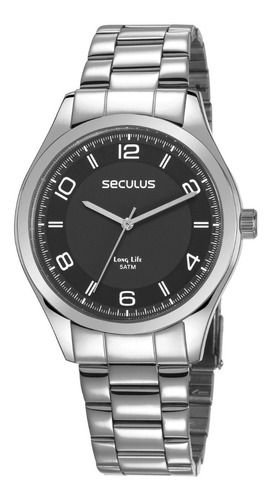 Relógios Seculus Masculino Redondo Preto 28975g0svna1