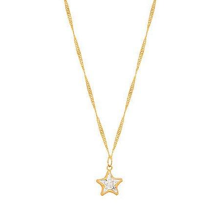 Gargantilha Estrela Ouro 18k 750