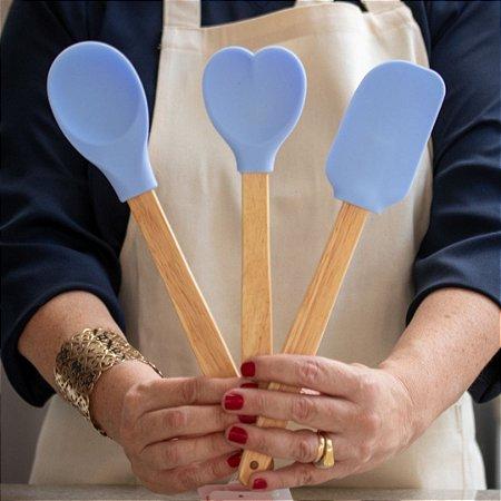 Kit 3pcs, Espátula, Colher e Colher coração de Silicone Azul