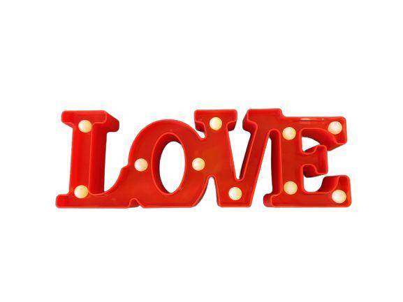 Love Decorativo Plastico LED - VERMELHO - Unitário.