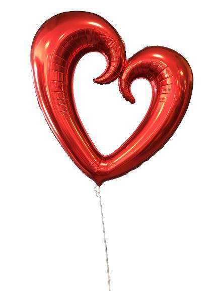 """Balão Metalizado 32"""" - Coração Vazado Vermelho"""