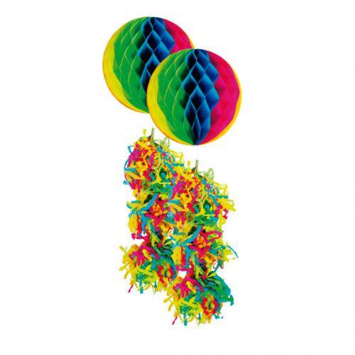 Enfeite Bola Junina Neon Colorida Com Rabicho