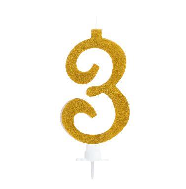 Vela Grande Dourada com Glitter N°3