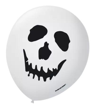"""Pacote Balão São Roque 9"""" Decorado Caveira Halloween"""