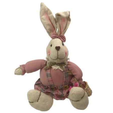 Coelha Fêmea Sentada Rosa 28cm