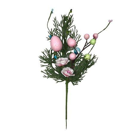 Galho Decorativo Ovo Pascoa  Rosa 27 cm