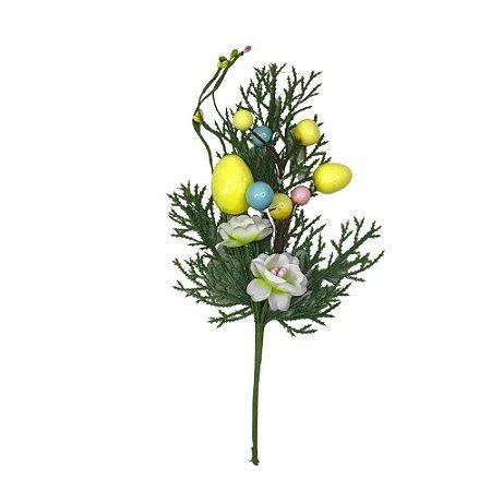 Galho Decorativo Ovo Pascoa e Flor Rosa 27 cm