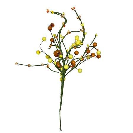 Galho Decorativo Ovo Pascoa  Amarelo e Laranja 34 cm