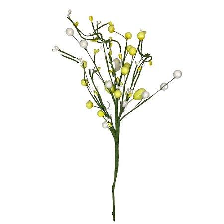 Galho Decorativo Ovo Pascoa  Amarelo e Branco 34 cm